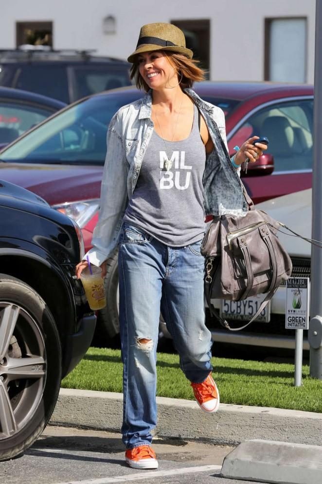 Brooke Burke in Jeans Leaving Coffee Bean in Malibu