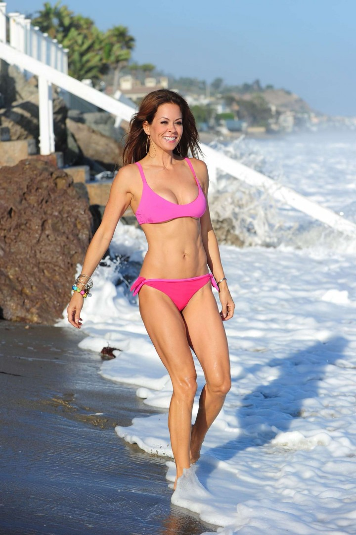 Brooke Burke in Pinj Bikini on Malibu Beach