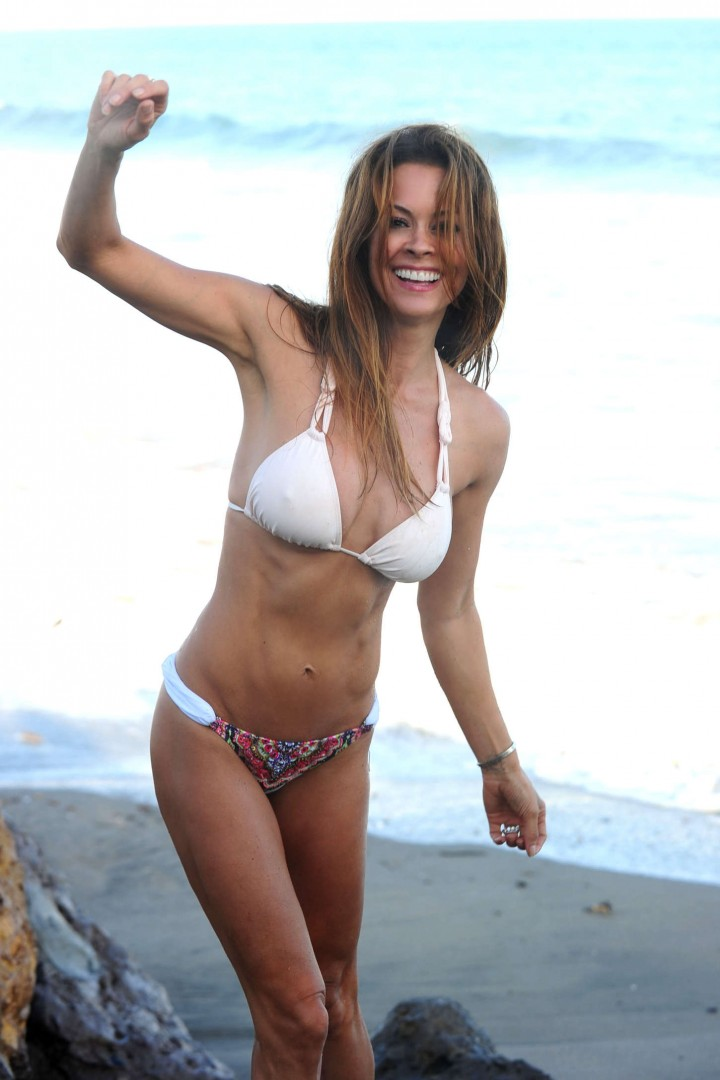 Brooke Burke in White Bikini at a Malibu Beach