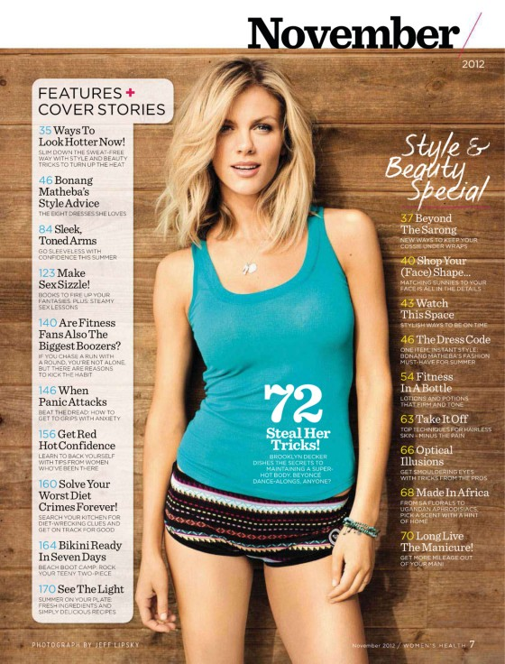 Brooklyn Decker showing her hot body in Womens Health South Africa Magazine issue