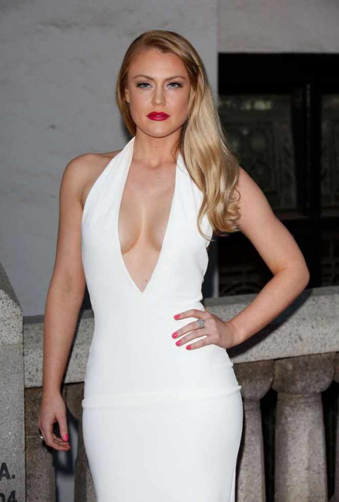 Camilla Kerslake in White Tight Dress at Inspiration Awards for Women in London