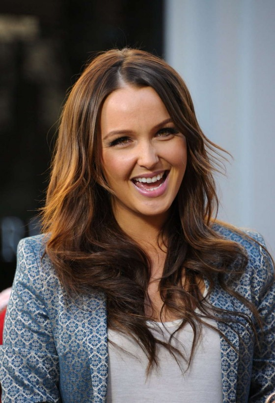 Camilla Luddington on the set of Extra at The Grove in LA