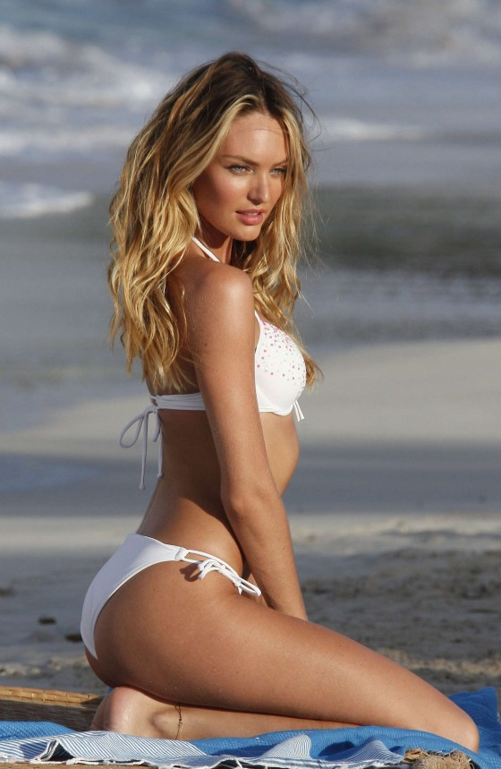 Candice Swanepoel in white bikini 2013 VS photoshoot-07