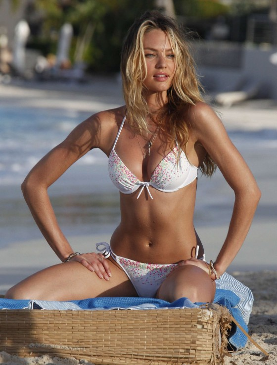 Candice Swanepoel in white bikini 2013 VS photoshoot-17