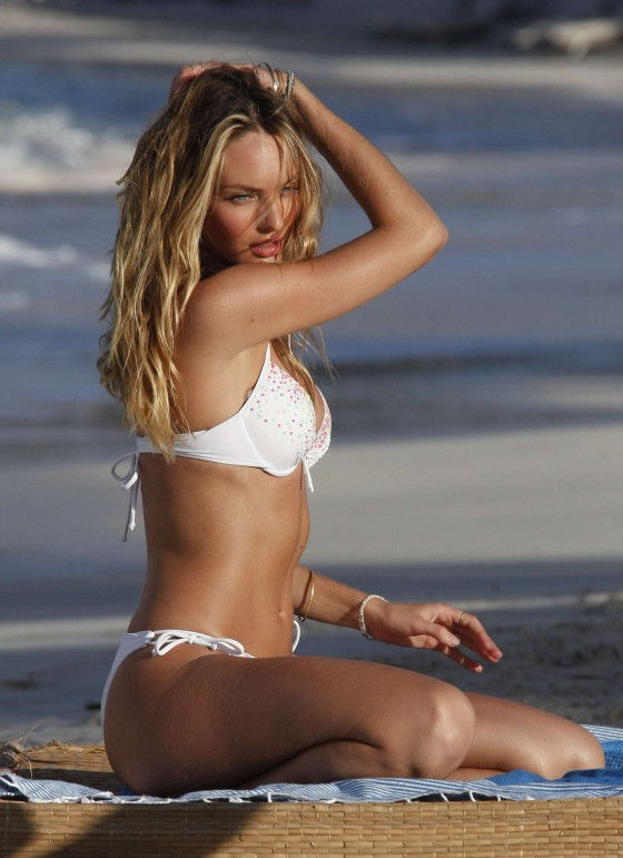 Candice Swanepoel in white bikini 2013 VS photoshoot-19