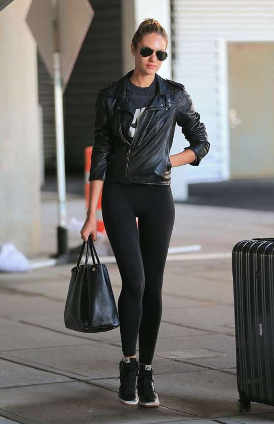 Candice Swanepoel in Spandex at JFK Airport -04