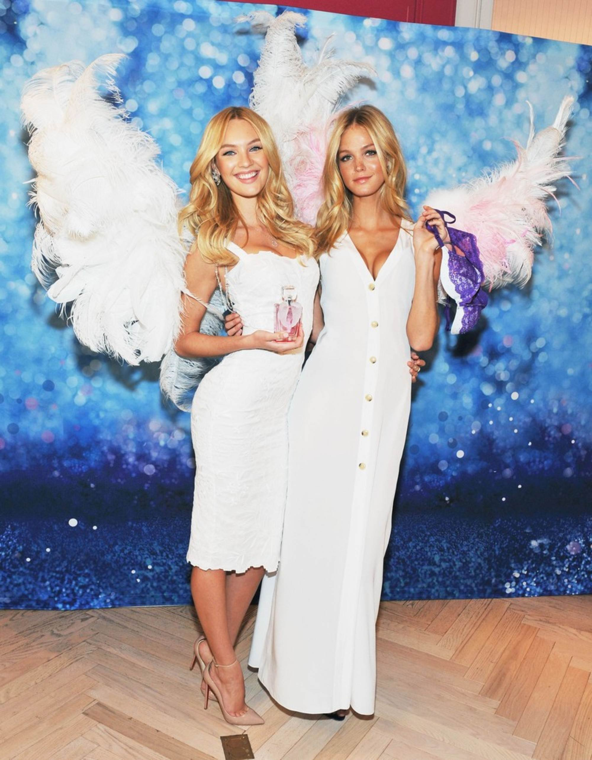Candice Swanepoel and Erin Heatherton – Hot in White Dress at Angel Month Launch-04