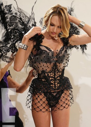 Candice Swanepoel - Fitting for the 2014 Victoria's Secret Fashion Show Behind the Scenes