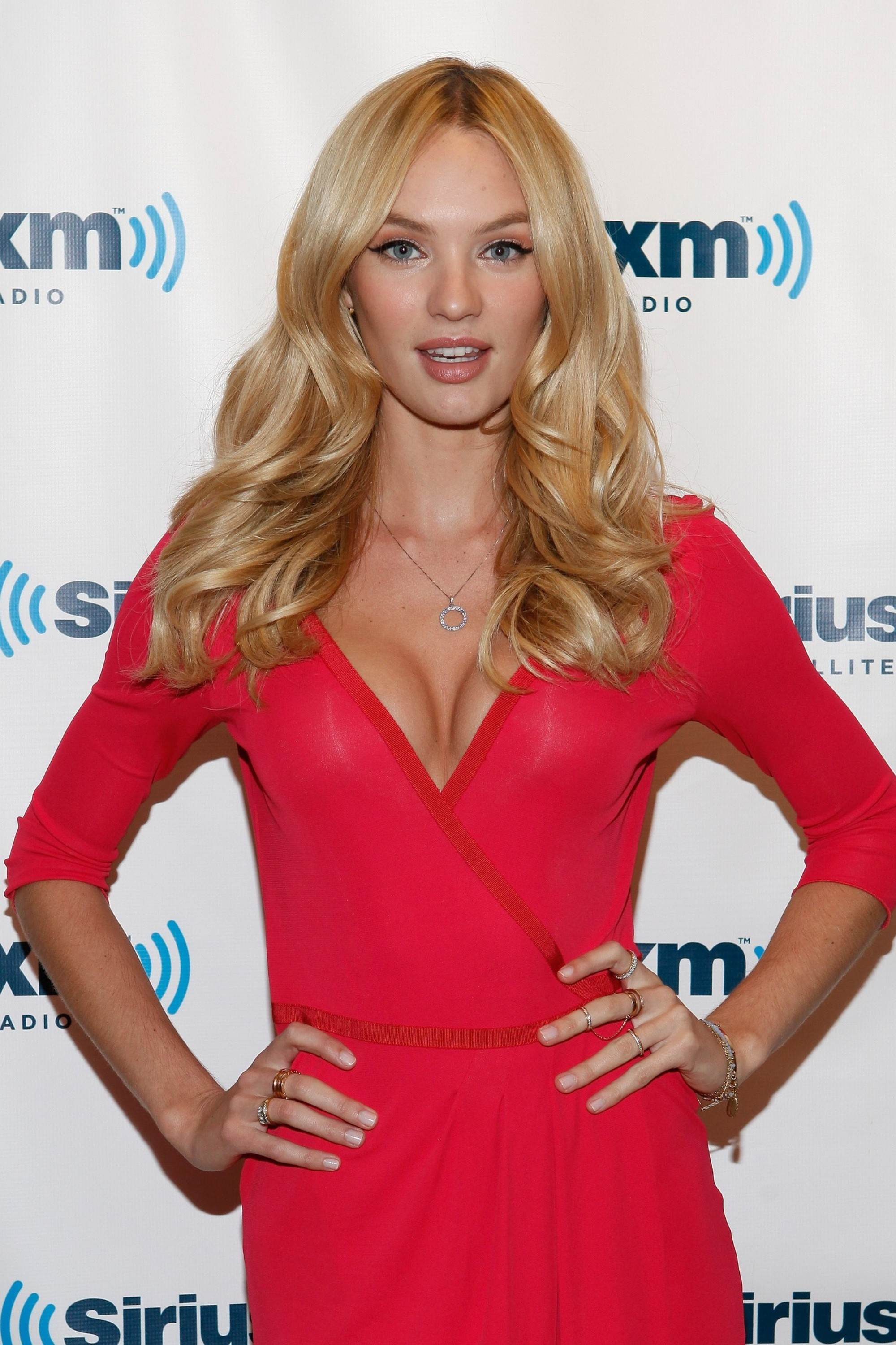 Candice Swanepoel Hot In Red Dress At Sirius Xm Studios