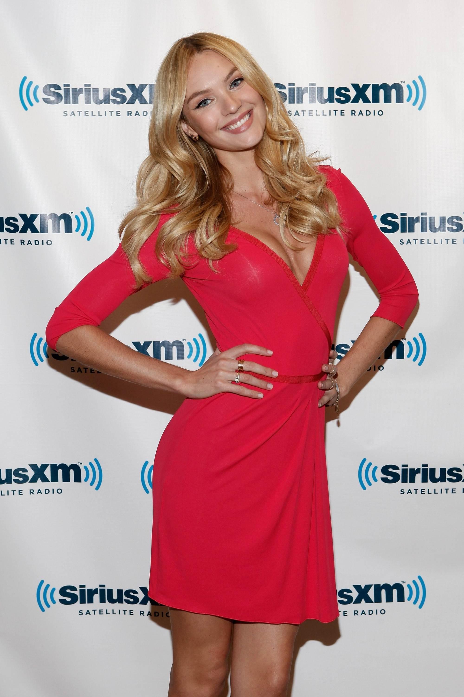 Candice Swanepoel In Red Dress At Sirius Xm Studios Gotceleb