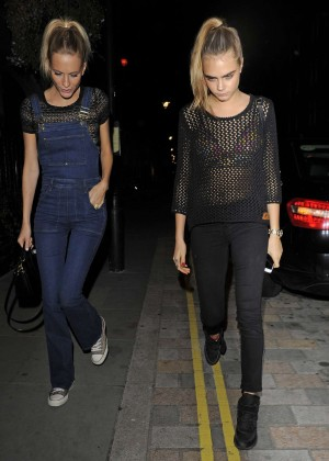 Cara and Poppy Delevingne Going to Chiltern Firehouse in London