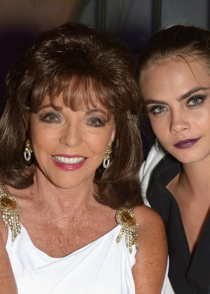 Cara Delevingne and Joan Collins at Leonardo Dicaprio Foundation Inaugurational Gala