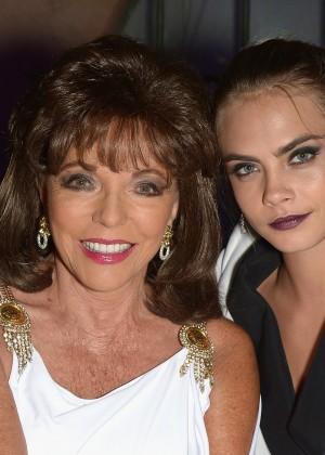 Cara Delevingne and Joan Collins at Leonardo Dicaprio Foundation Inaugurational Gala