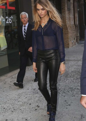 Cara Delevingne in Leather at Burberry Celebrating My Burberry at Sephora in New York City