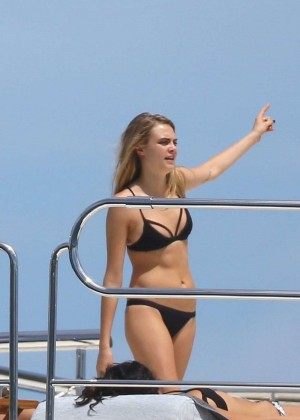 Cara Delevingne in Black Bikini on a Yacht in St Tropez
