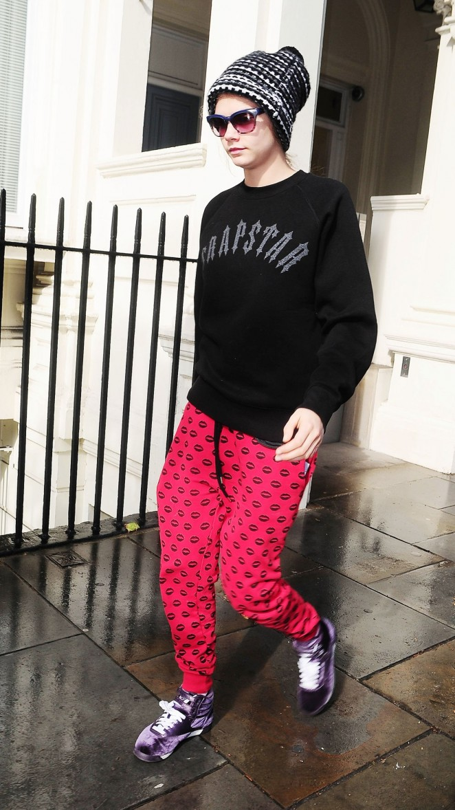 Cara Delevingne Leaving her house in London