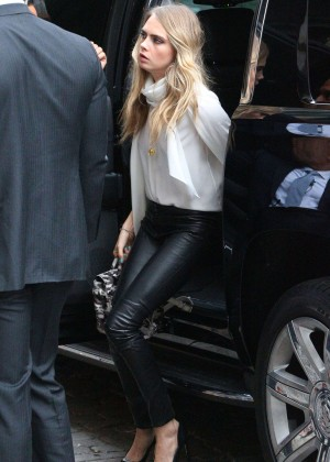Cara Delevingne in Leather Pants out in New York City