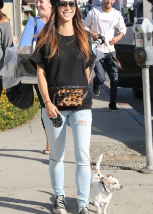 Cara Santana in Ripped jeans Walking her dog in West Hollywood