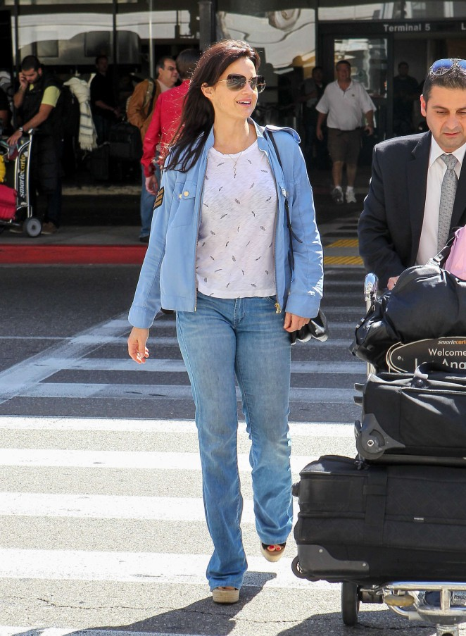 Carla Gugino in Jeans at LAX Airport in Los Angeles