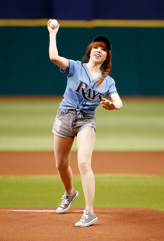 Carly Rae Jepsen at Astros vs Rays game in St Petersburg -01