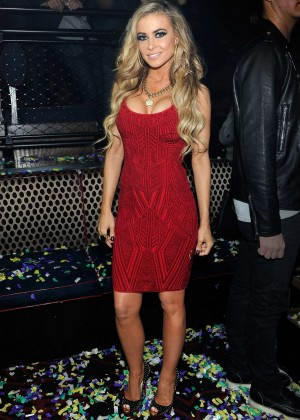 Carmen Electra in Red Dress at Light Nightclub in Las Vegas