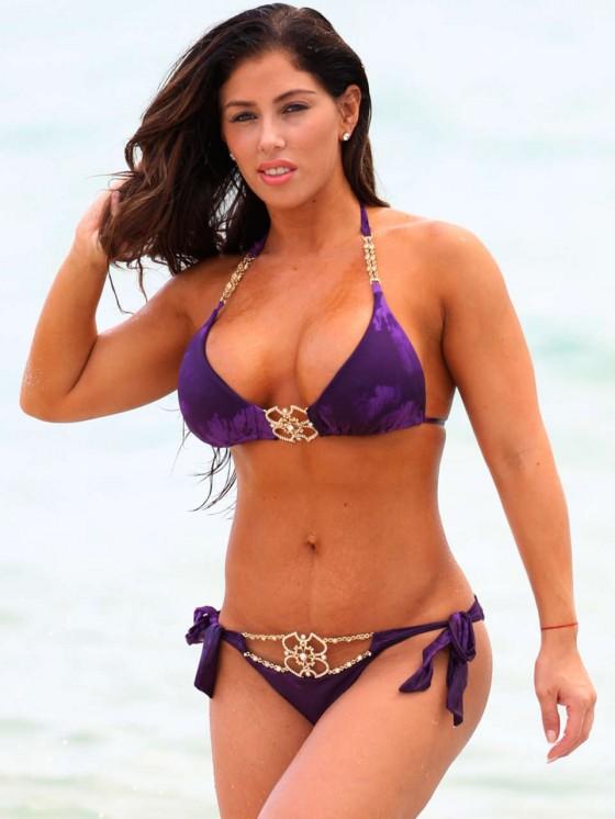 Carmen Ortega Bikini Photos: 2013 Miami Beach Purple Bikini -05