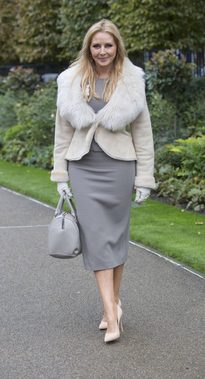 Carol Vorderman at Qipco British Champions Day Held at Ascot Racecourse