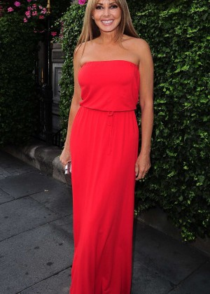 Carol Vorderman in Red Dress at Shari King Book Launch in London