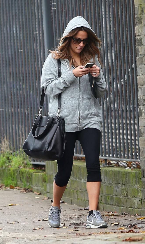 Caroline Flack in Leggings out in London