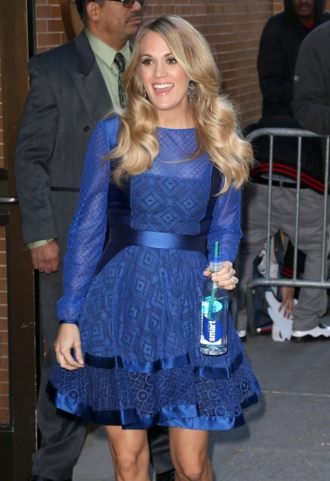 Carrie Underwood in Blue Dress at ABC Studios in NYC