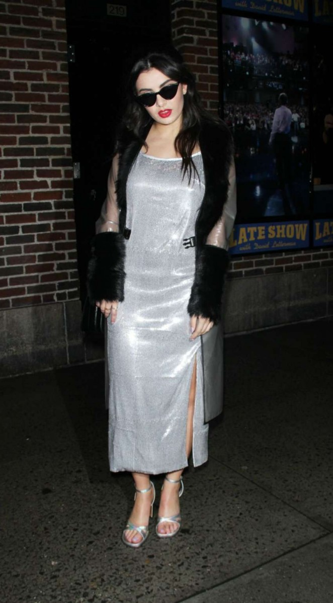 Charli XCX in Silver Dress at The Late Show with David Letterman in NY