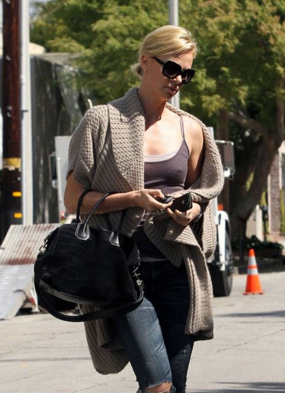 Charlize Theron Showing Some Tank Top Nipple of the Day