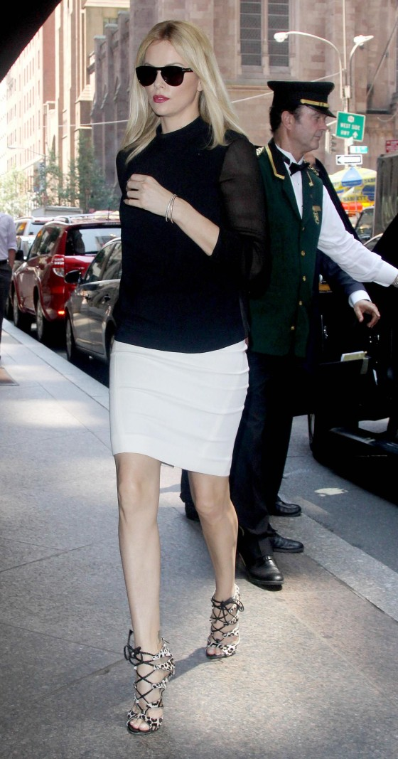 Charlize Theron – Hot and sexy in a Tight skirt and high heels in NYC-11