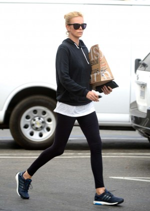 Charlize Theron in Leggings Leaves a yoga class in LA