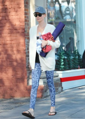 Charlize Theron in Leggings Leaving a Yoga Class in LA