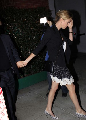 Charlize Theron in Mini Dress Leaving Mr. Chows in LA