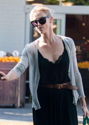 Charlize Theron in Black Dress Shopping in West Hollywood