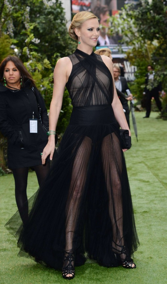 Charlize Theron wear hot see-through dress at Snow White and the Huntsman World Premiere in London