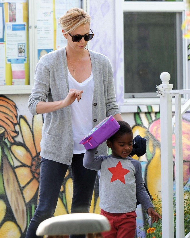 Charlize Theron with her son - out and about in Los Angeles