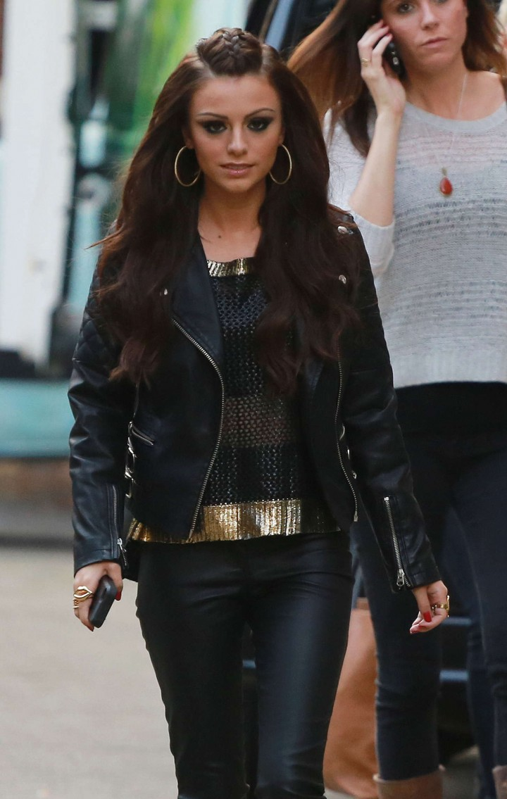 Cher Lloyd in Leather Pants at Sony Headquarters in London