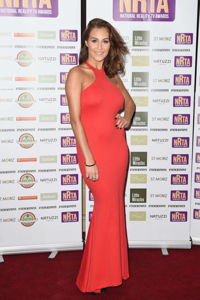 Chloe Goodman in Red Dress at 2014 National Reality TV Awards in London