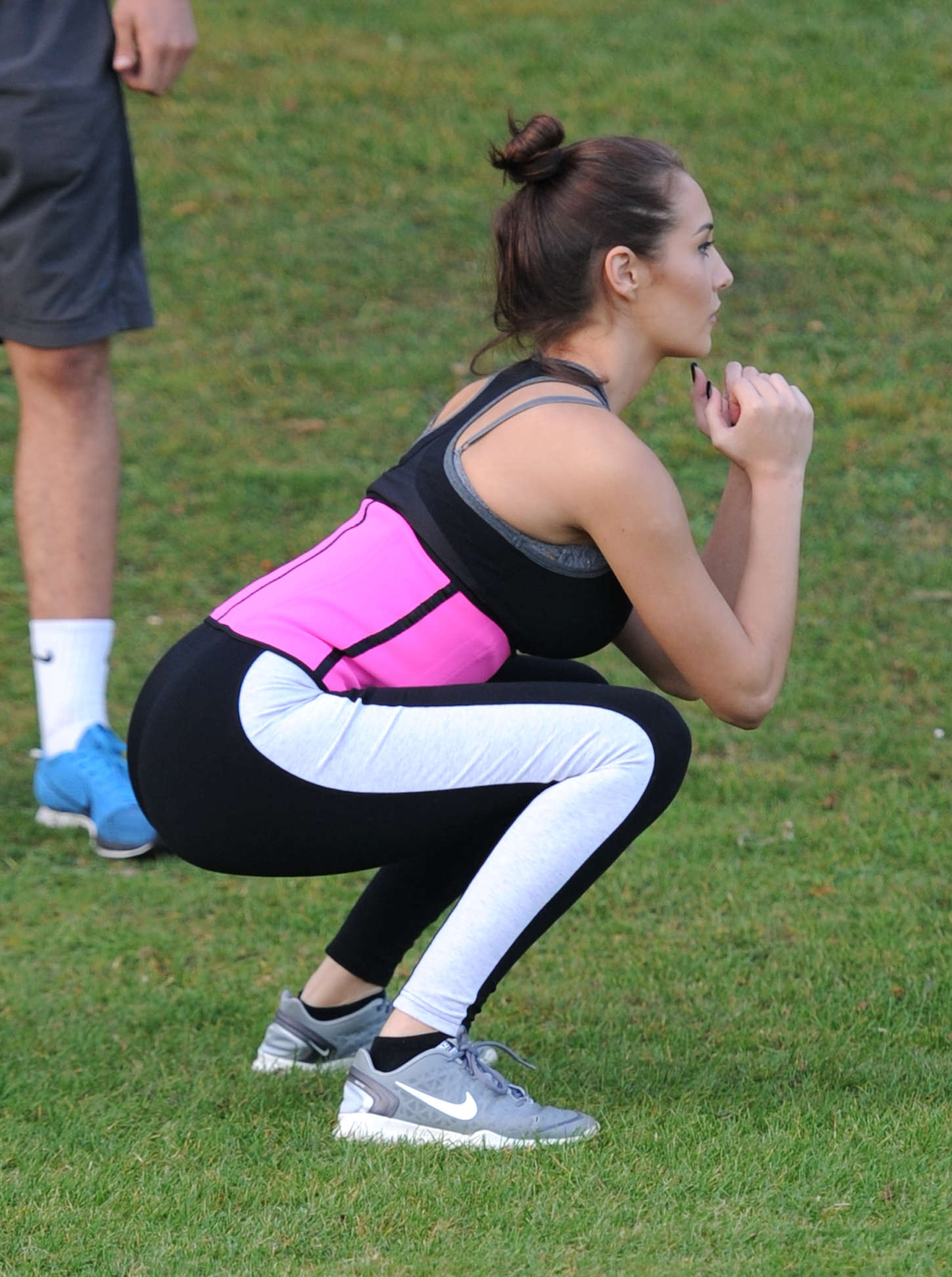 Chloe Goodman in Tights Work out in London