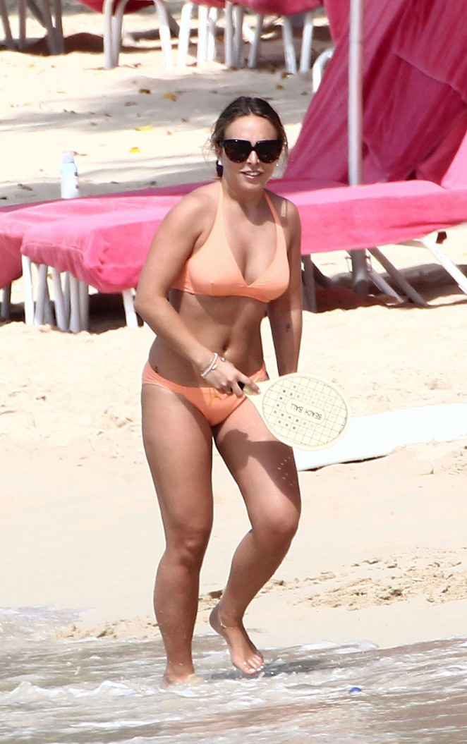 Chloe Green in Orange Bikini in Barbados