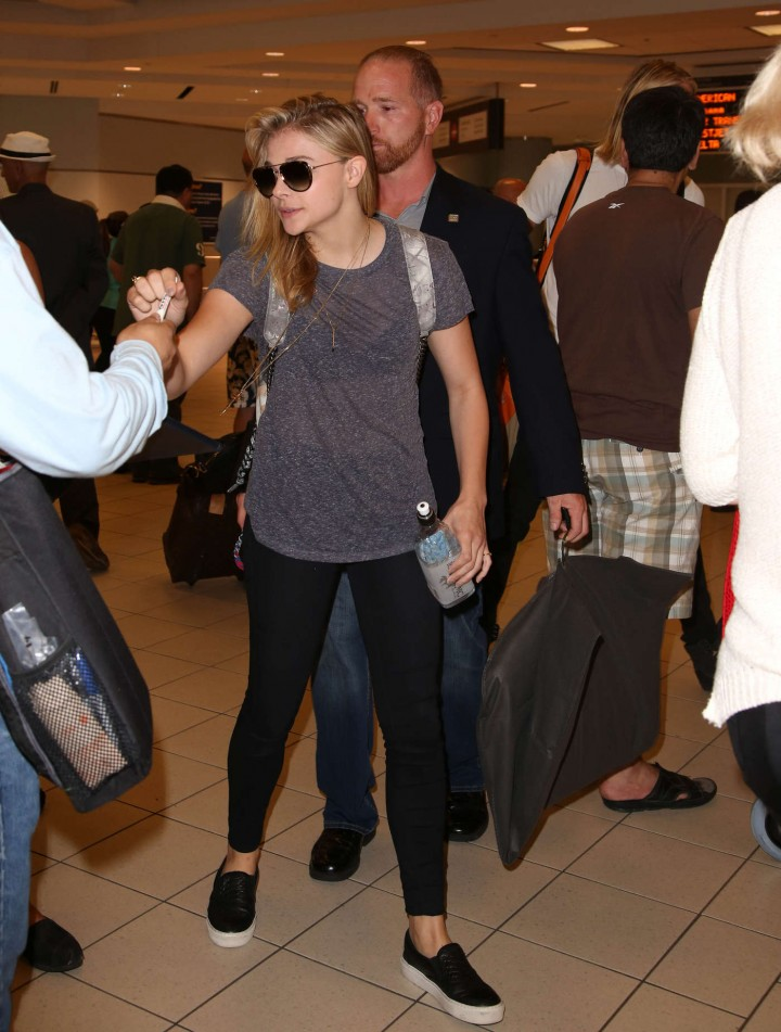 Chloe Moretz in Tights at Pearson International Airport in Toronto