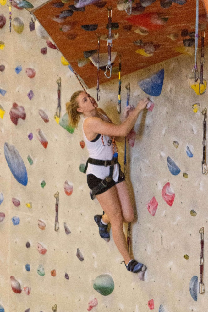 Chloe Moretz in Tight Shorts at Indoor Rock Climbing in Atlanta