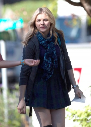Chloe Moretz in Mini Skirt Filming 'The 5th Wave' set in Atlanta