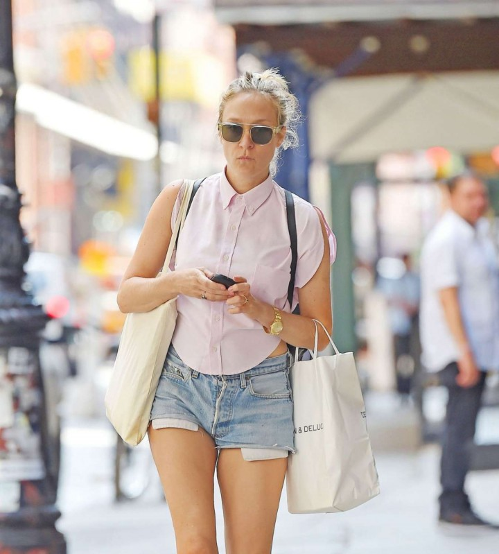 Chloe Sevigny in Jeans Shorts Out in New York City
