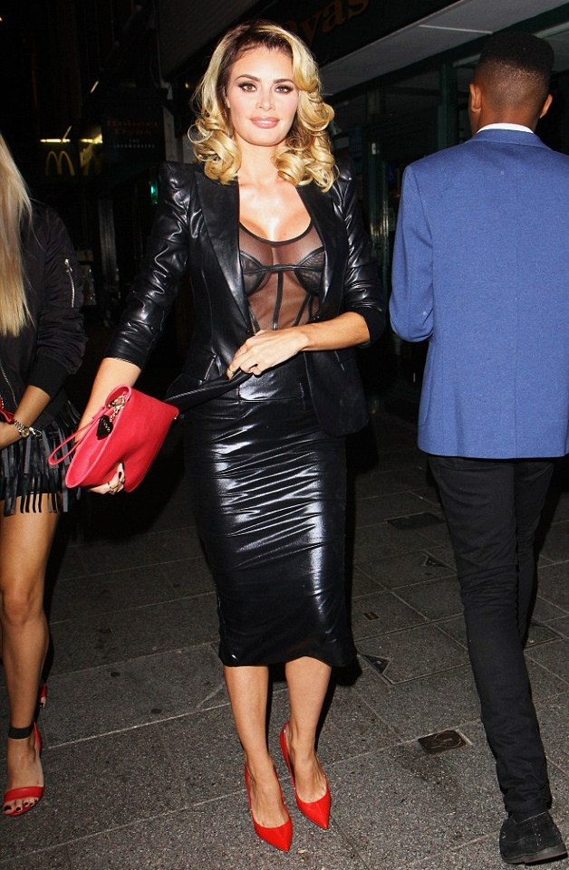 Chloe Sims in Leather Arriving at The Sugar Hut Nightclub in Essex