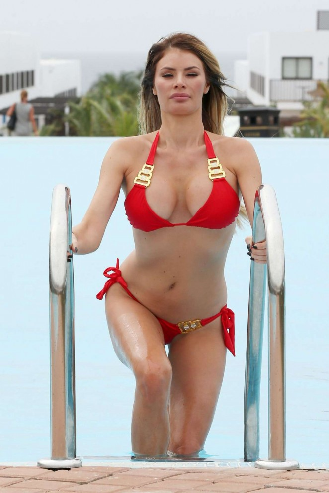 Chloe Sims in Red Bikini at a Pool in Cape Verde