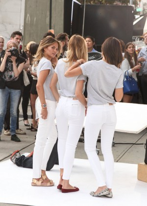 """Chrissy Teigen, Lily Aldridge and Candice Swanepoel at a photoshoot promoting the """"Watch Hunger Stop"""" campaign in New York"""